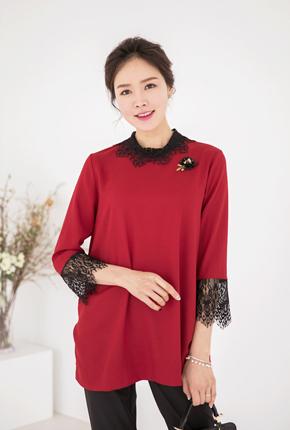 <b><font color=black>Cutting lace modern blouse</font></b> <br> -BL708034-
