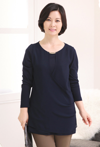 <b><font color=black>Gold decoration wrap blouse</font></b> <br> -BL30904-