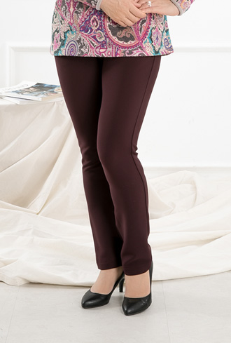 Leather zipper brushed pants -PN810033-