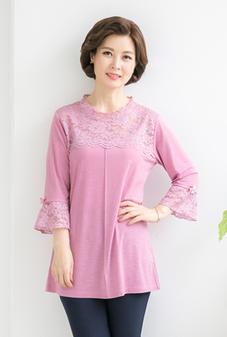 Comfortable Lace T-shirt-TE905034-