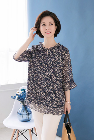 Neck frills chiffon blouse-BL905043-