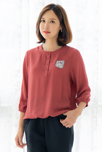 Plain open blouse-BL008036-